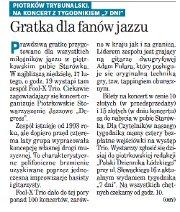 """""""Gratka dla fanów jazzu"""" koncert Fool-X trio w Piotrkowie (tygodnik """"7 Dni"""", 15 luty 2008)"""