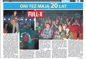"""20 years of the Full-X"" - Review of gig at the Ostrzeszow Festival of Art 2014. ""Czas Ostrzeszowski"" (K. Juszczak, May 20, 2014). Polish language."