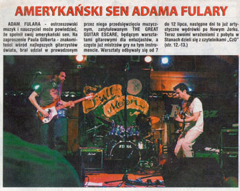 """American Dream - Adam Fulara"" - review of gigs and workshops with Paul Gilbert in U.S.A. at the Great Guitar Escape 2013. Czas Ostrzeszowski August 7, 2013 (Polish language)."