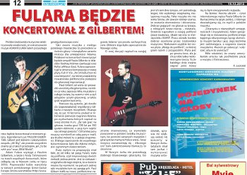 "Adam Fulara and Paul Gilbert - gigs in New York area. Polish language (""Czas Ostrzeszowski, Dec 19, 2012)"