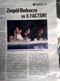 "Michal Bednarz in X-Factor (Polish ed.), ""Kurier Trzebnicki"" March 2014."