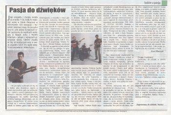 """""""Pasja do dźwięków"""" (Ewa Pilarczyk) - artykuł z serii """"Ludzie z pasją"""". """"Nasze Strony Ostrzeszowskie"""" sierpień 2013."""