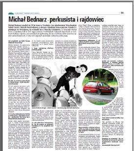 """Michal Bednarz - drummer and the rally driver"" - Full-X drummer review in Panorama Trzebnicka, November 2013. (Polish)"
