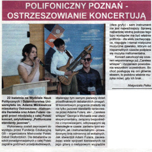 Counterpoint in Poznan - Czas Ostrzeszowski, July 11, 2017. Review of the Counterpoint Jazz Standards gig in Poznan. Adam Fulara (guitar) + Aleksandra Danielska (voc)