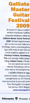 """Galliate Master Guitar Festival 2009"" - review in ""Gitarzysta"", September 2009 (Polish)."