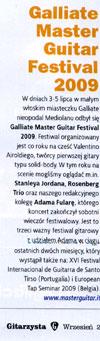 """""""Galliate Master Guitar Festival 2009"""" - relacja w magazynie """"Gitarzysta"""" (wrzesień 2009)."""