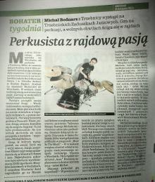 """""""Perkusista z rajdową pasją"""" - Artykuł o perkusiście Full-X Michale Bednarzu - """"Gazeta Wrocławska"""" - listopad 2013."""