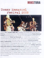 "Adam Fulara & Tommy Emmanuel - review of the Tommy Emmanuel Festival 2008 (""Gitarzysta 12/2008""). Polish language."