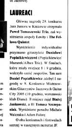 """Jazz Forum"" 1/2006 - the biggest Polish jazz magazine - ""The winners of competitions..."""