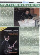"""""""Szkoła na gitarę Adama Fulary"""" - recenzja książki + DVD """"Two handed tapping - guitar workshop"""". """"Czas Ostrzeszowski"""", 11.11.2009."""