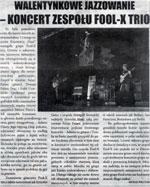 """Review of Fool-X trio gig (Polish Tour 2008) """"Kurier Ziemi Ostrzeszowskiej"""" (Polish language)"""
