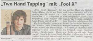 """Two hand tapping mit Fool-X"" Magdeburger Volksstimme 31.08.2006r (German language)"