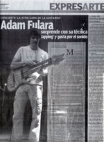 """La otra cara de la guitarra"" Relacja z koncertu Adama Fulary w czasie XIII Festival Internacional de Guitarra del Noreste - Meksyk 2008 (Sociales dziennik stanu Coahuila) - jez. hiszpański"