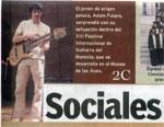 """""""La otra cara de la Guitarra"""" strona tytułowa dziennika stanu Coahuila """"Sociales"""" (Meksyk 2008, język hiszpański)"""