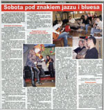 """Saturday with jazz and blues"" - review of the JaZZlot 2004 Festival, with Fool-X trio, K. Misiak and Bledowski-Winder Band. ""Czas Ostrzeszowski"", August 2004, Polish language."