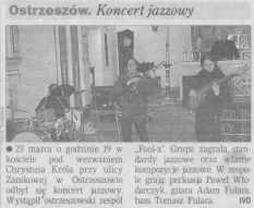 Gazeta Poznańska (27.03.2001), pierwszy koncert Fool-X z nowym, instrumentalnym, improwizowanym materiałem. Koncert zorganizował ś. p. ks. kanonik Zdzisław Sobierajski.