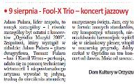 "Short review of trio gig in Orzysz (""Biuletyn"" Sep, 2009)"