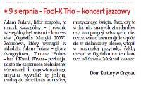 "Short review of trio gig in Orzysz (""Biuletyn"" Sep, 2009)"