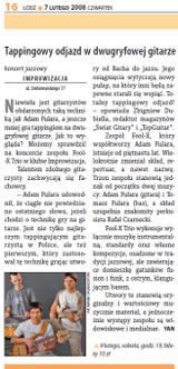 """""""Tappingowy odjazd w dwugryfowej gitarze"""" Trio gig review, Polish language (""""Echo Miasta"""" 7 luty 2008)"""
