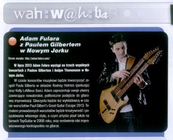 "Adam Fulara - koncerty z Paulem Gilbertem na Great Guitar Escape w USA. ""TopGuitar"" nr 1/2013"